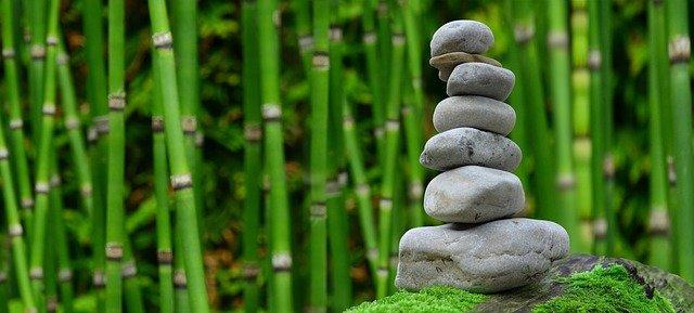 pierres de méditation dans le jardin